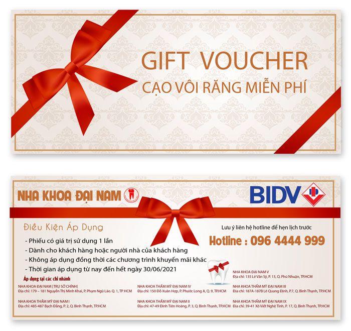 Voucher cạo vôi răng miễn phí dành cho khách hàng BIDV